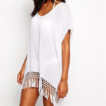 Buy 2017 Summer Sexy Beach Dress Tassels Pareo Beachwear Tunic White Chiffon Sarong Swimsuit Dress Swimwear for $10.98 in AliExpress store