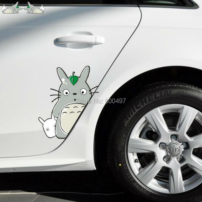 2 x Newest Car-Styling Cover Cartoon Cat Totoro Door Sticker Car Stickers for Toyota Ford Focus 2 Chevrolet VW Opel Tesla Lada(China (Mainland))