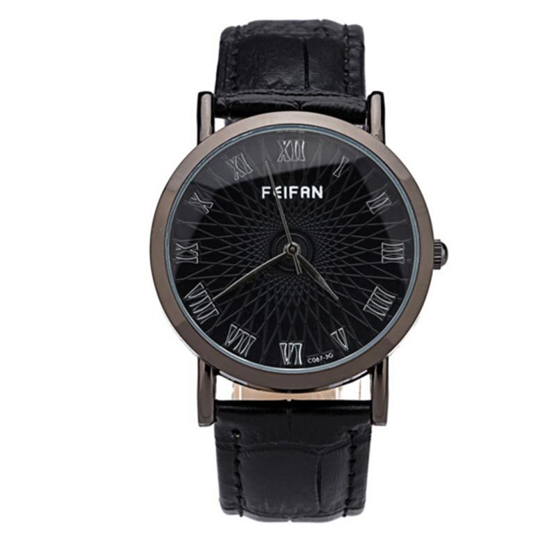 Hot sale Business casual fashion personality Mens watch dial PU belt Watch neutral quartz-watch relogio feminino Mujer