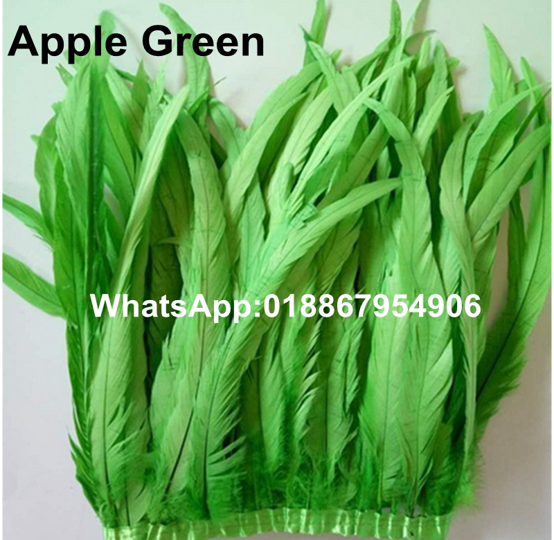 "Free Shipping-10 yards Apple Green Rooster feather trim 10-12"" in width rooster tail trim coque trim for Craft Design(China (Mainland))"
