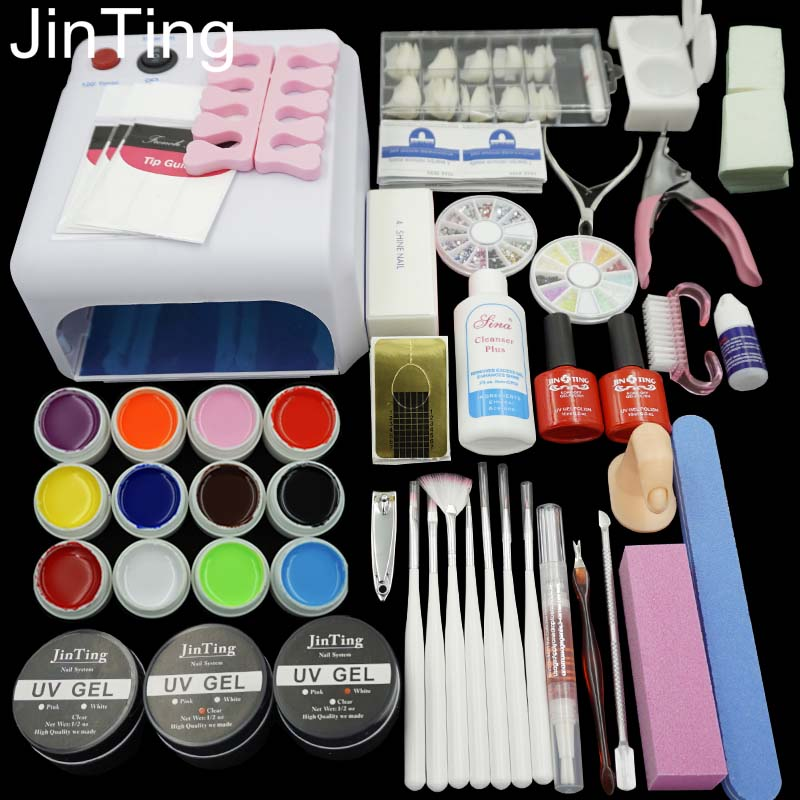Hot Nail tools art 36W UV Lamp + 12 Color UV Gel + Builder gel Art Tool Kits for manicure set + Drop shipping(China (Mainland))
