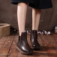 En relieve de cuero de las mujeres botas planas de los talones botas de plataforma botines felpa corta de las mujeres botas de invierno la nieve de las señoras zapatos de las cuñas(China (Mainland))