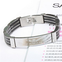 Wide Style Silicone Stainless Steel Men's Bracelets & Bangles Titanium Steel New Fashion Men Jewelry 2014