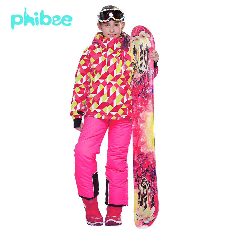 PHIBEE Winter Ski Snowboard Clothing Children Kids Waterproof -30 Degree Fleece Warm Girls Snow Ski Jacket Coat + Bib Pants Suit(China (Mainland))