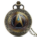 Vintage Classic Star Trek Theme Bronze Quartz Pocket Watch Antique Fob Watches Men Women Gift With
