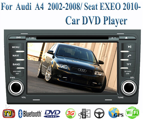 2 Din Car DVD Player Fit AUDI A4 2002-2008 / SEAT EXEO 2010 2011 2012 2013 2014 GPS TV 3G Radio WiFi Bluetooth Wheel Control(China (Mainland))