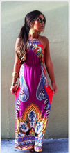 Flying tomato Women's Black Long Printing Dress Emprie Strapless Fasion Long Dress MHD071