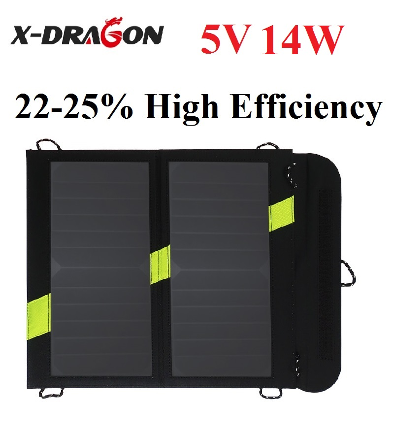 Фотография X-DRAGON 14W high Efficiency Foldable Sunpower Solar Panel Charger Dual Output Solar Power Bank Camping Charger for Cell Phone
