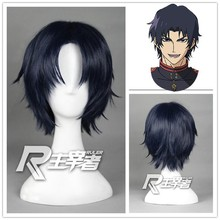 Owari no Seraph Of The End Guren Ichinose Black Short Hair 30cm Cheap Cosplay Wig Synthetic Full Lace Wig + Free Wig Cap(China (Mainland))