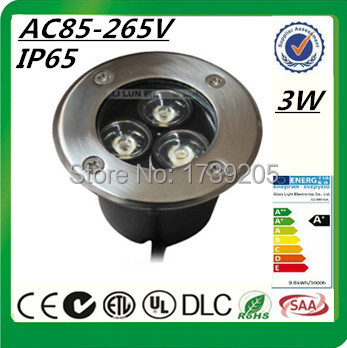 Wholesale RGB LED Buried Lights AC85~265V or DC12V 3W IP65 Waterproof LED Underground Lamps 3 years Warranty Free Shipping(China (Mainland))