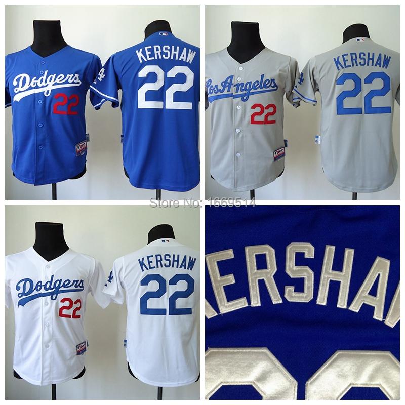 cheap Kids stitched Los Angeles Dodgers 22 Clayton Kershaw white/grey youth baseball Jersey, Embroidery Logo, Original Tags(China (Mainland))