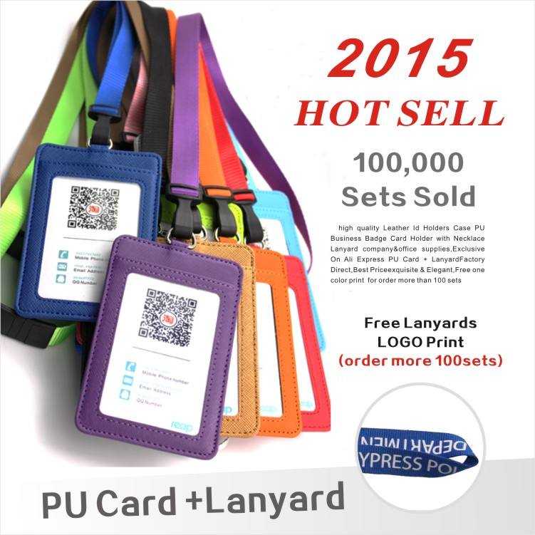Leather Id Holders Case PU Business Badge Card Holder with Necklace Lanyard LOGO customize print company&office supplies(China (Mainland))