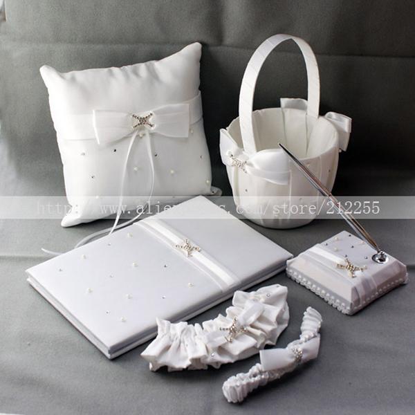 Flower Girl Baskets And Matching Ring Bearer Pillows : Wedding ring pillow flower basket guest book pen