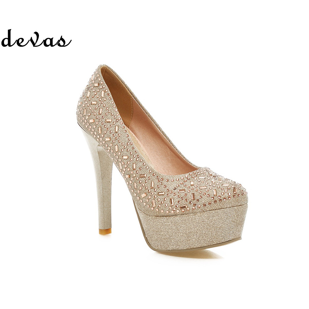 New fashion prom shoes women sexy high heels platform pumps bridal shoes wedding evening women dress shoes party 2015 gold shoes