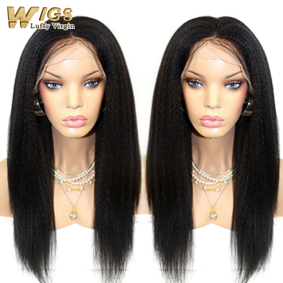 Top 7A Glueless yaki straight full lace wigs brazilian virgin human hair lace front wig with natural color 130 density 10''-26''(China (Mainland))