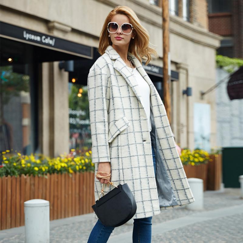 Veri Gude Women Woolen Coat Long Plaid Overcoat Warm for Winter Loose Waist Elegant Style