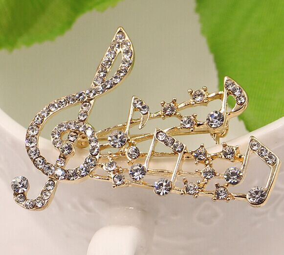 Strass musical notes brooch/new 2015 korean luxury elegant rhinestone broches bridal wedding accessories wholesale/atacado(China (Mainland))