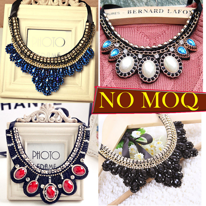 High quality 2014 new arrive hot sale vintage fashion design black beads ribbon chain false collar choker necklace for women(China (Mainland))