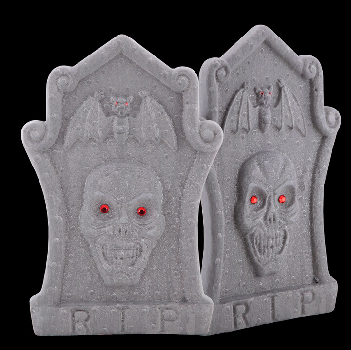 Free Shipping 47cm 63g 5pcs/lot Halloween polyfoam Tombstone Bar KTV House Scene Horror Props Halloween Skull gravestone decor(China (Mainland))
