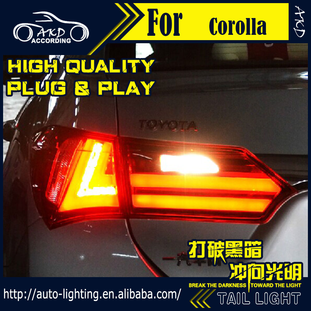 Car Styling Tail Lamp for Toyota Corolla Tail Lights 2014 New Altis LED Tail Light Rear Lamp LED DRL+Brake+Park+Signal Stop Lamp(China (Mainland))