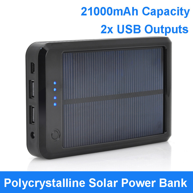 Big Sale 21000mAh Capacity Dual USB Outputs Polycrystalline Solar Panel Power Bank with LED Light Solar Back Up Battery Charger(China (Mainland))