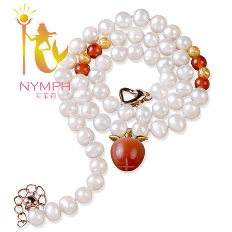 NYMPH Trendy freshwater pearl necklace with carnelian small apple egg shape necklace High performance price ratio XL1018(China (Mainland))