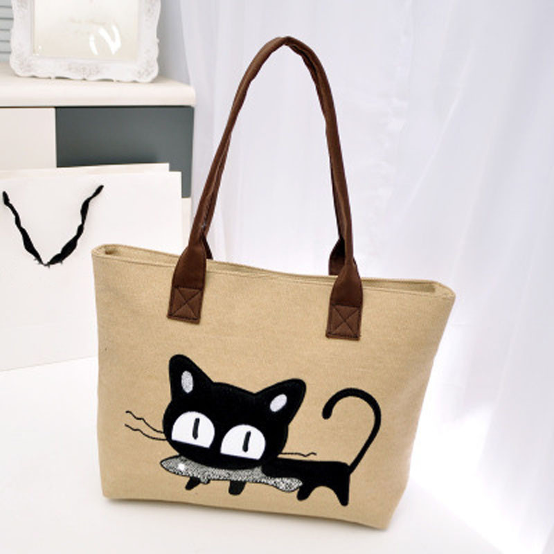 New Fashion Women Canvas Bag Cute Cat Shoulder Bag Office Lunch Bag 4 Colors bolso de las mujeres BETTER for you Fast Shipping(China (Mainland))