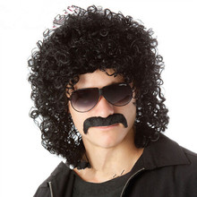 Hot Sell Fashion Puffy Man Black Curly Middle Length Wig Cosplay Party Full Lace Synthetic / Fake Hair