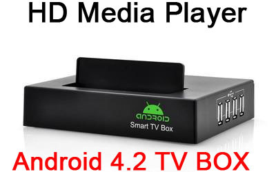 "Network HD media player support Android 4.2 OS 4x USB 2.0 HDD Smart TV BOX 1GB 4GB Support 2.5 inch"" inch hard disk"""