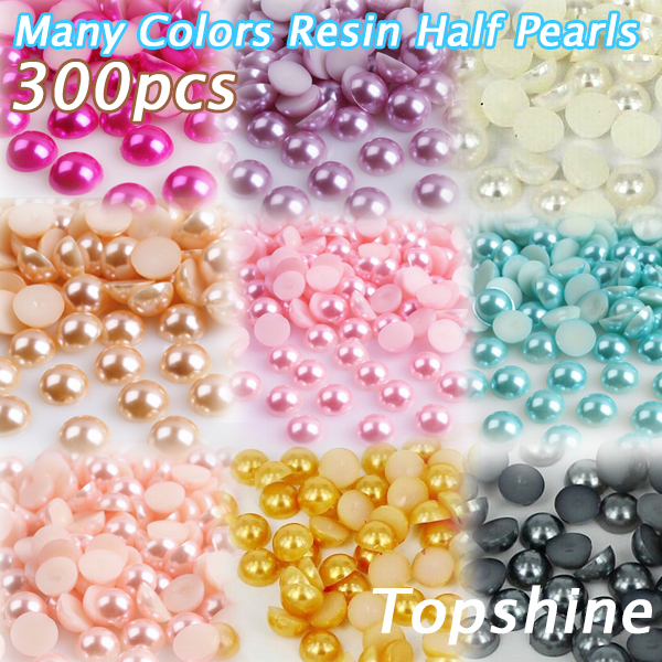 Many Colors Round Resin Half Pearls 6mm Pink Rose Blue and ect Beads 300pcs Falt Back Beads For Nail Art Decorate DIY(China (Mainland))