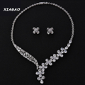 XIAGAO Luxury White Gold Plated Elegant Shape Bridal CZ Necklace and Earrings Big Wedding Jewelry Sets