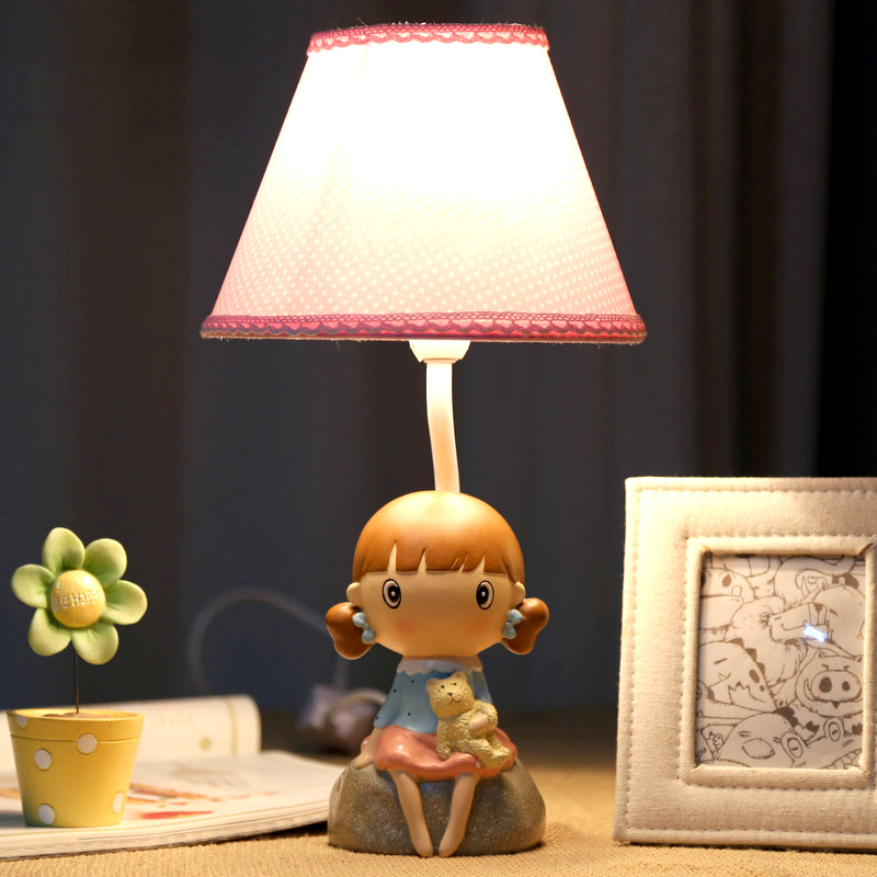Little Girl Lamp Warm Bedroom Bedside Lamp Dimmer Fashion