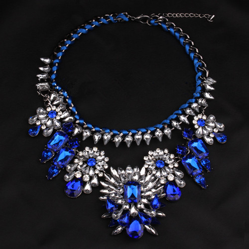 New 1 Pcs Blue Women Lady Luxury Vintage Crystal Choker Chunky Collar Bib Statement Necklace Pendant Chain Jewelry freight(China (Mainland))