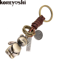 Fashion Cute Animal Bear Style Keychain Car Keyring Hand Made Genuine Leather Key Chain for Men Bag Charm Accessories llavero(China (Mainland))
