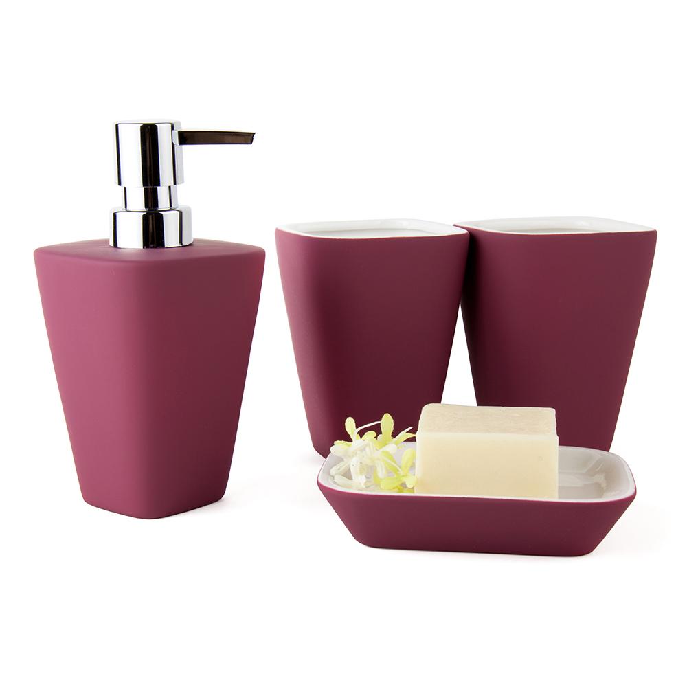 DecoTalk Ceramic bathroom set four pieces set bath set bathroom supplies nordic style rubber paint solid colors 4 colors(China (Mainland))