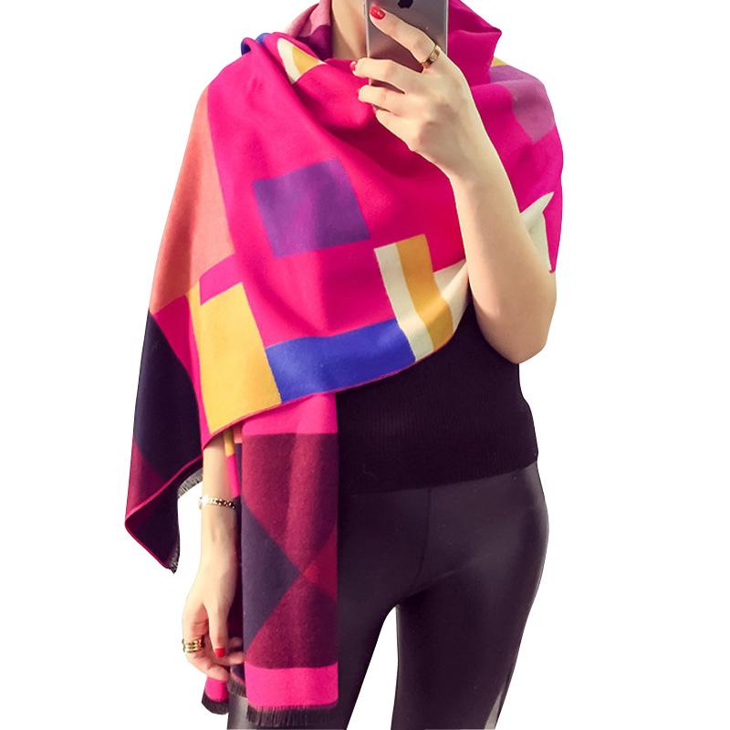 Luxury Brand Scarf Women Plaid Cashmere Scarves Cape Pashmina Z-1661()