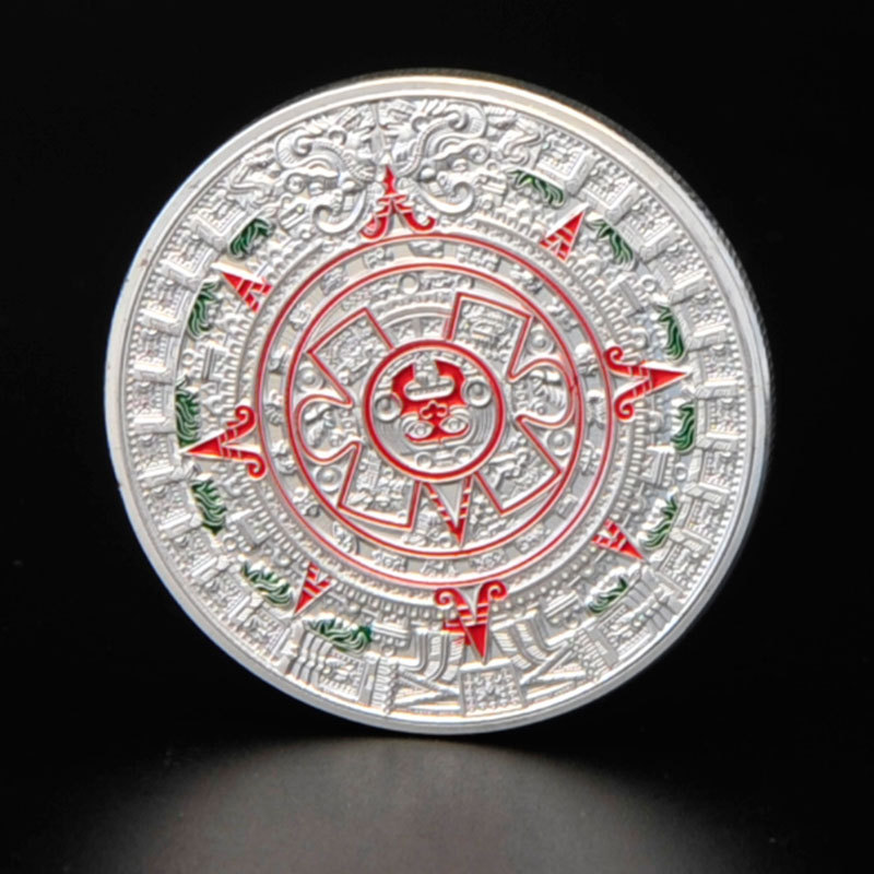 New 2015 Silver Plated Mayan Coin Mayan Prophecy Commemorative Coin Aztec Calendar Coin Maya Metal Crafts Lucky Coins Russia(China (Mainland))