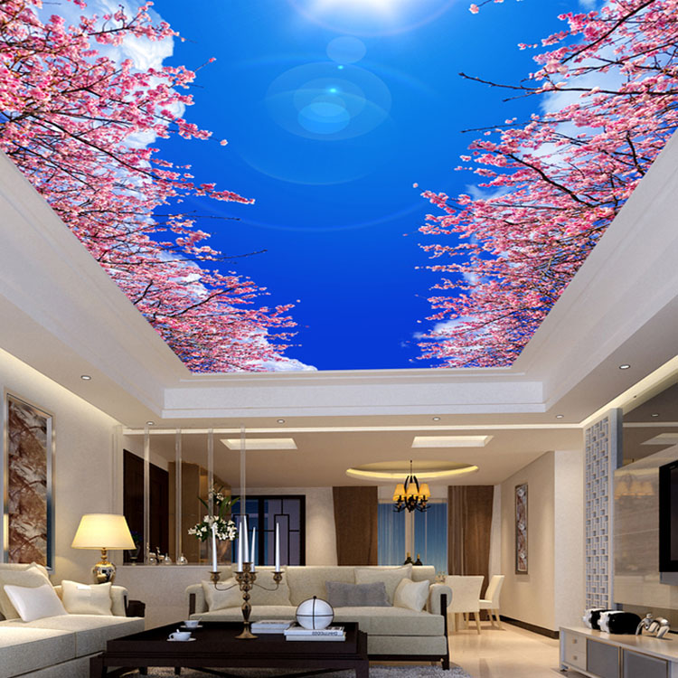 Popular cherry wallpaper buy cheap cherry wallpaper lots for Ceiling mural in smokers lounge
