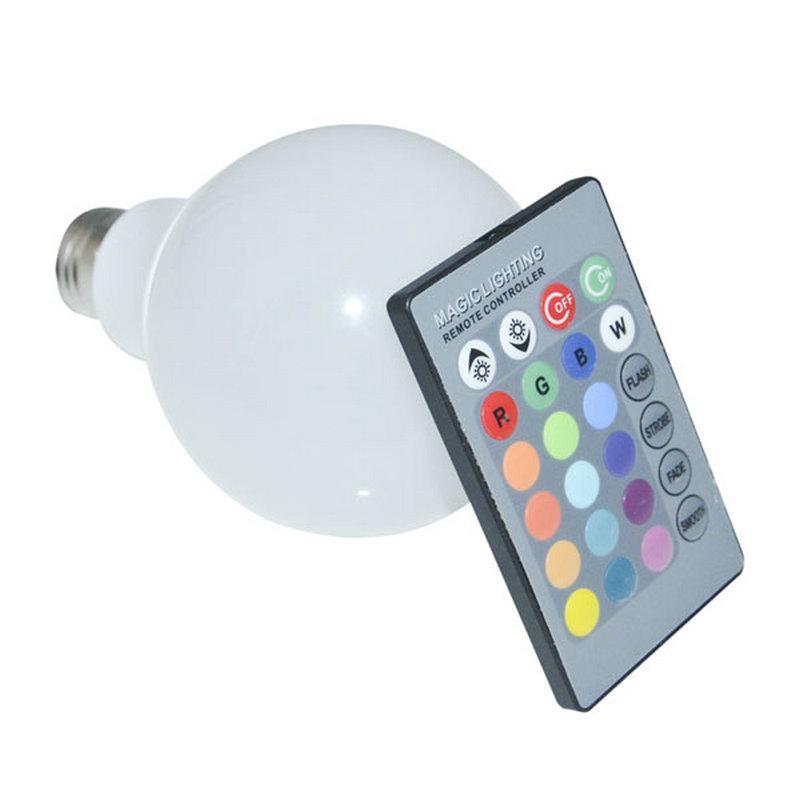 Smart IC Bulb Lamp RGB 3W 10W E27 AC 85-265V 16 Color Change Remote Control LED Bulb Light E27 LED Bulb Lamp(China (Mainland))