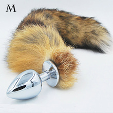 Anal plug fox tail Stainless steel butt plug cat tail anal plug fox tail cosplay anal sex toys metal butt plug dog tail(China (Mainland))