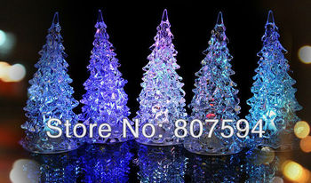 LED night light, glass crystal Christmas tree night lamp, Halloween gifts seven color changing Including batteries 1pcs/lot