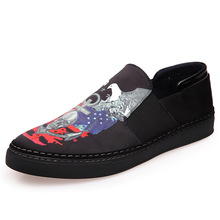 2016 Hot fahion Men Shoes 3D printing Silk Breathalble Men Loafers Casual Flat Driving Shoes Moccasin M015(China (Mainland))
