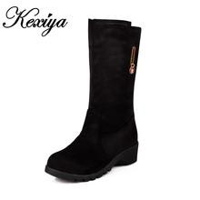 Moda Invierno cálido Mujeres zapatos de tamaño Grande 30-50 de la decoración del metal tacones Slip-On Botas de nieve pequeño tamaño 30 31 32 33 HQW-9699(China (Mainland))