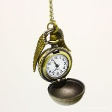 vintage bronze color punk steampunk hot sale Harry Potter quartz pocket real watch pendant snitch wings necklace for men/women(China (Mainland))