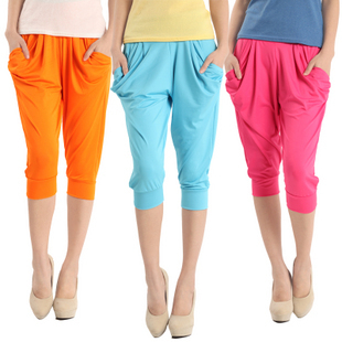 Fashion Lady's Colorful Drape Harem Pants Hip-Hop Stretch Trousers Free Shipping W3002