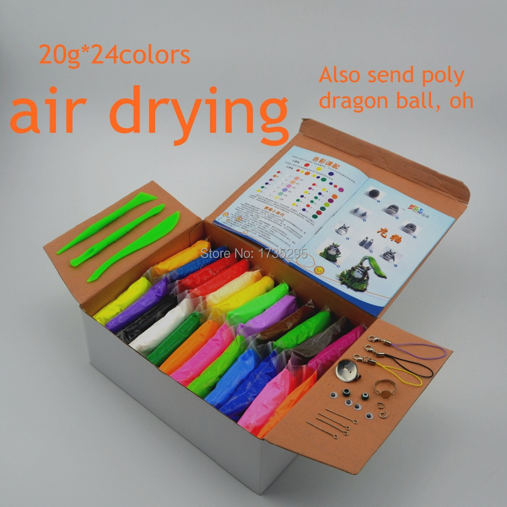 NEW 24colors Super light clay Air drying Soft Polymer Modelling Clay with tools Educational toy Special DIY Plasticine toys(China (Mainland))