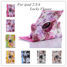 New Lucky Flower Sweet Floral 360 rotating case pu Leather case for Apple iPad 2 Leather Cases Stand Cover for Apple iPad 4 3(China (Mainland))