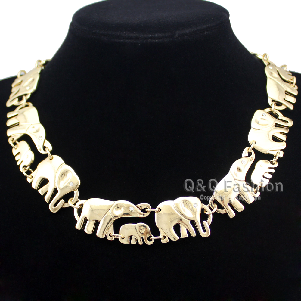 Gold African Elephant & Baby Link Hindu Ganesh Chain Collar Statement Necklace Necklace Jewelry Free Shipping(China (Mainland))