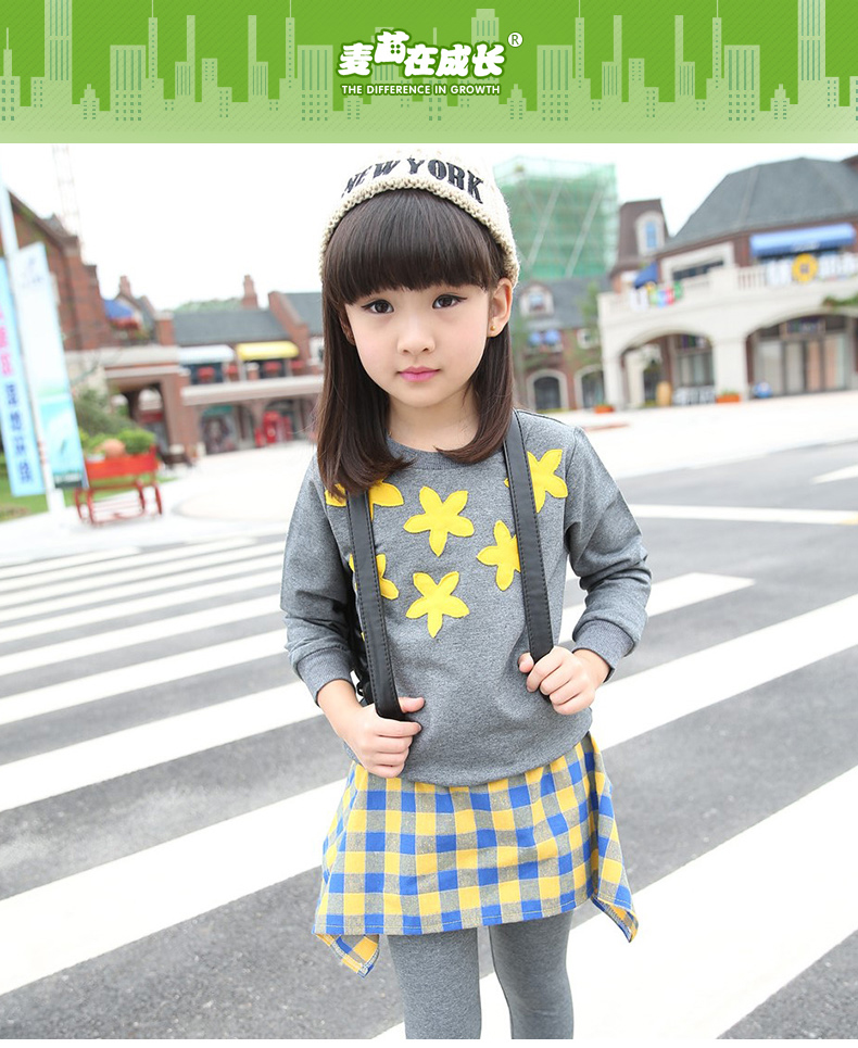 New Style Large Children's Sports Suit Kids Wear Two Pieces of Beautiful Flowers Sweet Sports Casual Suit Girl Clothing Set(China (Mainland))