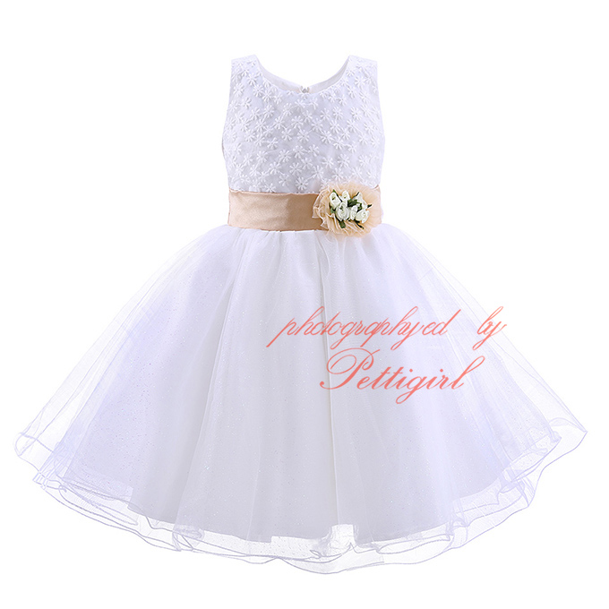 Pettigirl 2016 Newest White Girl Party Dress With Flower Sash Cheap Kids Pageant Dresses Retail Children Clothing MBGD90220-1(China (Mainland))
